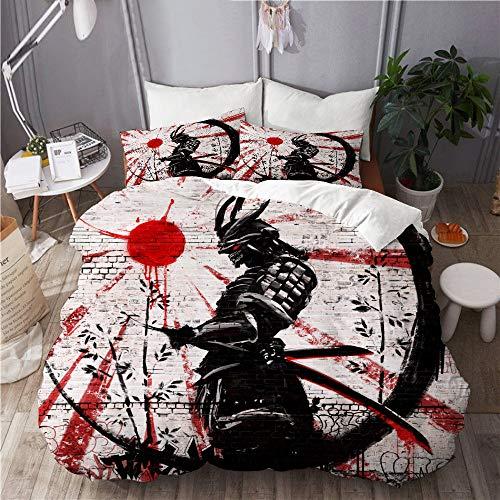 WINCAN Funda nórdica Impresa(140x200cm),Graffiti en Pared de ladrillo Guerrero japonés,Decorativo de Dormitorio Doble Hotel Juego de Cama de 3 Piezas con 2 Fundas de Almohada(50x75cm)