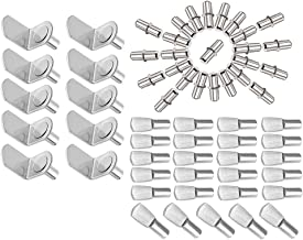 MZMing [60 pcs] 3 Styles of Metal Shelf Support Stud Pegs Including L-Shape Bracket Supports/Flat Spoon Style Shelf Pegs/C...