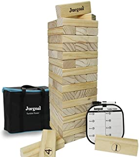 Juegoal 54 Piece Giant Tumble Tower, Wooden Block Game with Gameboard, Canvas Bag for Outdoor Yard Playing,7.1 x 7.2 x 25....