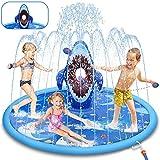 LETOMY Splash Pad, Shark Sprinkler Play Matte mit 4 Sandsäcken für Kinder, 180CM Aufblasbare Wasserspielmatte für Sommergarten im Freien Familienfeier Spaß Wassersprühspielzeug