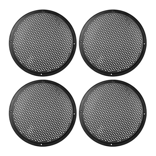 X AUTOHAUX 4pcs 6.5 Metal Glossy Audio Speaker Cover Mesh Subwoofer Grill Horn Guard Decorative Circle Grille Protector Black for Car