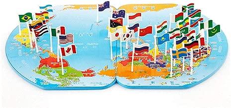 لعبة JMcall® الخشبية القابلة للطي لخريطة العالم للرياح والألغاز الخشبية قابلة للطي مع شعار المملكة العربية السعودية (اللون: متعدد الألوان، الخامة: خشب)