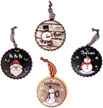 Harbor 55 Christmas Snowman Ornament Decorations Set of 4, Metal Bottle Caps, Painted, Santa, Frosty, Round 4