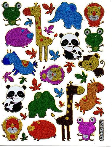 by soljo Giraffe Panda Lion Animaux Decal Autocollant de décalque 1 Metallic Glitter Dimensions de la Feuille: 13,5 cm x 10 cm