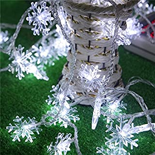 Christmas Snowflake Lights(19.7FT/ 40Llights/2Modes), Konsait Christmas Decorations Snowflake String Lights Fairy Lights Battery Operated Xmas Gift Accessories for Winter Holiday Christmas Party Favors Supplies