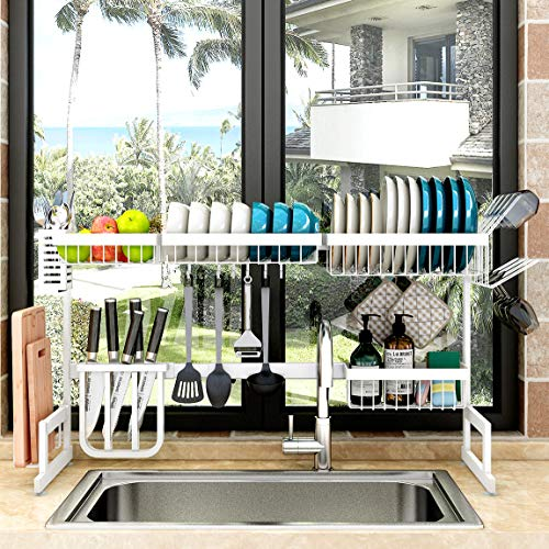 Over Sink(33') Dish Drying Rack, 2 Cutlery Holders Drainer Shelf for Kitchen Supplies Storage Counter Organizer Stainless Steel Display- Kitchen Space Save Must Have (White, For Sink ≤ 33.5inch)
