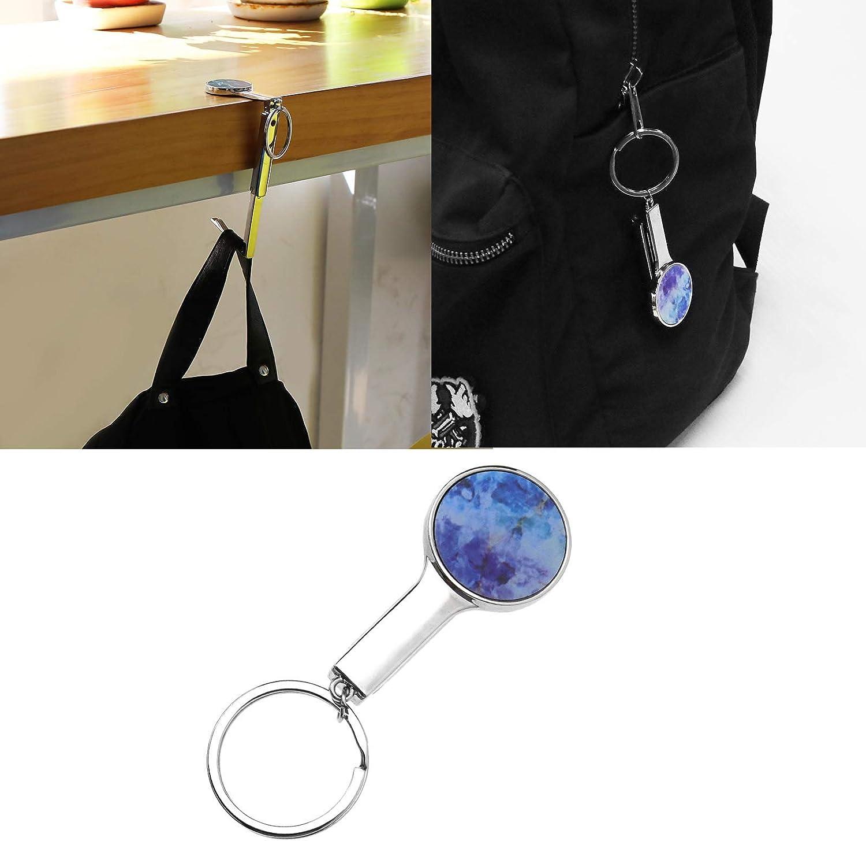Yinettech portatile Set di ganci rotondi per borsetta con motivo assortiti Pink// Black Cat pieghevoli