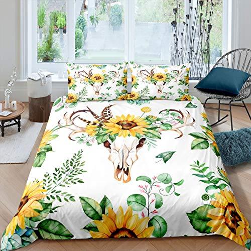 Juego de ropa de cama con diseño de calavera de toro y girasol, para niños y niñas, diseño botánico de flores amarillas, decoración de edredón bohemio, cubrecama, colección de 3 piezas, tamaño king