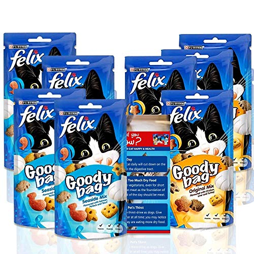 Felix Goody Bag Cat Treats Original Mix 60g (4 PKS) + Felix Goody Bag Cat Treats Seaside Mix 60g (4 PKS) - Free Cat Health Tips Attached