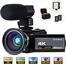ACTITOP HDV-UHD-02 4K Camcorder WiFi Night Vision Video Camera for YouTube Volgging with Microphone,Wide Angle Lens,LED Light,and Camera Bag,Black