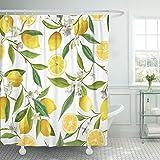 TOMPOP Duschvorhang mit grünem Blumenmuster, Zitrone, Früchte, Blumen, Blätter, elegant, wasserdicht, Polyester-Stoff, Badezimmer, 152,4 x 183,9 cm, Set mit Haken