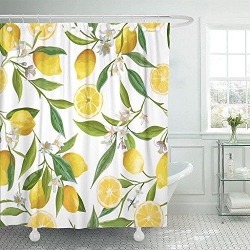 TOMPOP Shower Curtain Green Floral Pattern Lemon Fruits Flowers Leaves Elegant Exotic Waterproof Polyester Fabric Bathroom 72 x 72 inches Set Hooks