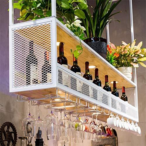 COLiJOL Bar Butler Dispensador de Vino Estante de Madera de 2 Niveles Soporte Rústico para Colgar Vino Sistema Universal de Secado de Aire Soporte de Exhibición de Copa de Vino Independiente para Bar