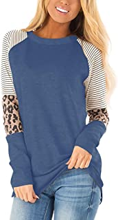 Cucuchy Womens Long Sleeve Color Block Tunic Casual Stripe Round Neck T Shirt Tops