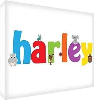 Feel Good Art Bloc en bois blanc Décoration de chambre d'enfant Cadeau de naissance ou de baptême Nom de garçon Harley 12,...