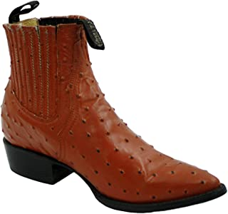 Men Genuine Ostrich Print Short Ankle Western j Toe Boots