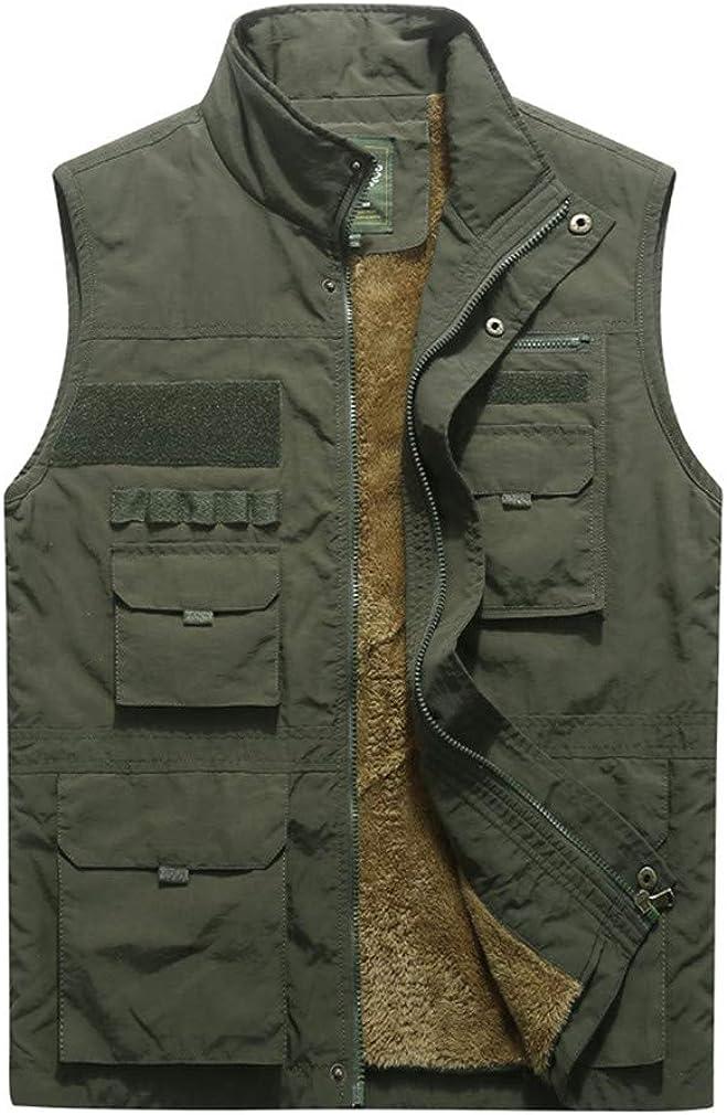 DFLYHLH Thicken Fleece Waterproof Vest Mens Multi Pockets Waistcoat Photographer Sleeveless Jacket
