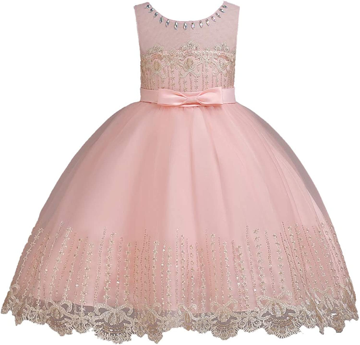 GIFT ZHIZHUXIA Wedding Bridesmaid Birthday Evening Party Girls Sleeveless Dress Bowknot Embroidered Design Kids Princess Puffy Dresses Christmas Party Dress props ( color   PINK , Size   100CM )