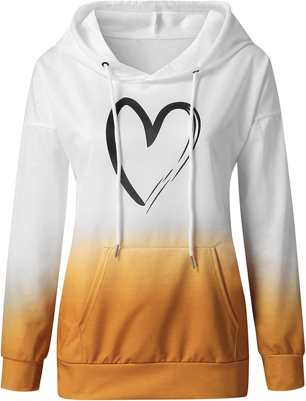 Eduavar Womens Hoodies, Women Teen Girls Cute Stripe Colorblock Long Sleeve Pullover Sweatshirts Casual Hoodie Tops