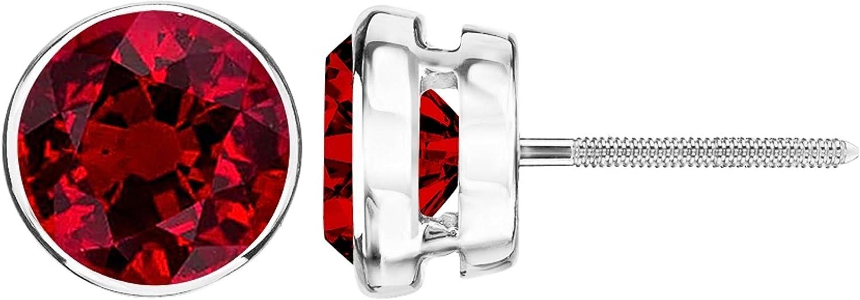 1/2-10 Carat Total Weight Ruby Stud Earrings Bezel Screw Back