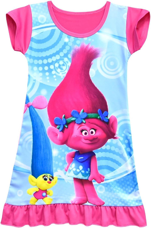 ZHBNN Trolls Girls' Cartoon Pajama Printing Comfy Loose Nightgown Dress