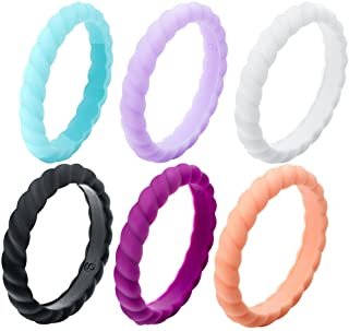 Jude Jewelers 3mm Braided Medical Grade Silicone Stackable Ring Wedding Band Statement Promise