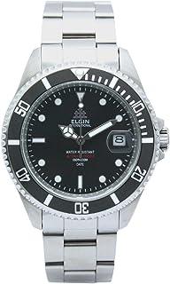 [エルジン]ELGIN 腕時計 200M防水 オートマ 日本製ムーブメント 逆回転防止ベゼル オールステンレス ブラック×シルバー FK1405S-B メンズ