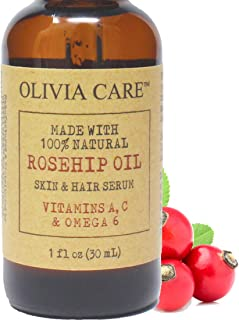 Rosehip Seed Oil Serum By Olivia Care - 100% Natural Moisturizer for Face, Body & Skin. Packed with Vitamins E, C, A & Ome...