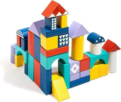 2021 ROBUD 2021 Building Blocks for Toddlers 1-3 Mini Wooden Blocks 60pcs Educational Preschool Learning online Toys Kids Building Blocks sale