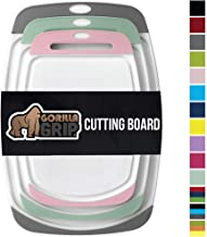 GORILLA GRIP Original Oversized Cutting Board, 3 Piece, BPA Free, Dishwasher Safe, Juice Grooves, Larger Thicker Boards, Easy Grip Handle, Non Porous, Extra Large, Set of 3, Gray, Mint, Pink