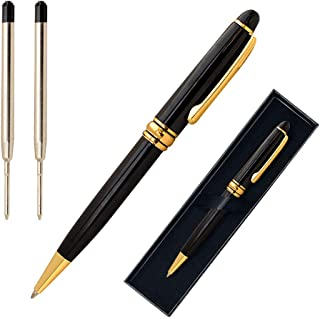 Candumy Black Gift Ballpoint Pen Set for Men,Stainless Steel Fancy pens Twist to Open Retractable Classic Design Golden Trim,Executive Business Pens with Medium Black Ink Refills-2Pack(2Pen,4Refills)