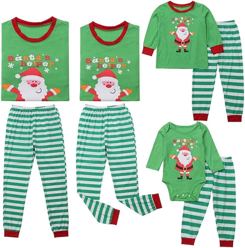 Christmas Family Matching Pajamas Set Santa Pattern Stripe Long Sleeve Tee Tops Soft Long Pants Homewear Green