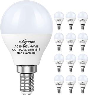 SHINESTAR 12-Pack E12 LED Ceiling Fan Light Bulbs 60 watt Equivalent, 5000K Daylight, A15..