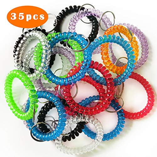QMET Pack of 35 Stretchable Plastic Bracelet Wrist Coil Wrist band Key Ring Chain Holder Tag (7 COLORS MIXED)