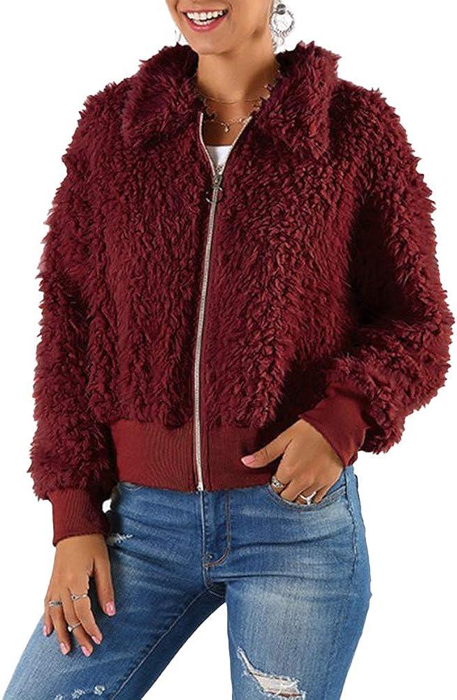 Ladies Plush Coat Long Sleeve Zip Up Faux Fur Jackets Winter Warm Loose Fit Fleece Outwear Overcoats