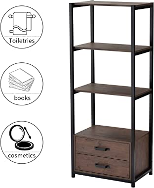 4-Tier Industrial Bookshelf with Metal Frame, 60 in Tall Wooden Bookcase with 2 Drawers and 3 Shelves, Freestanding Display Self for Home and Office, Brown and Black