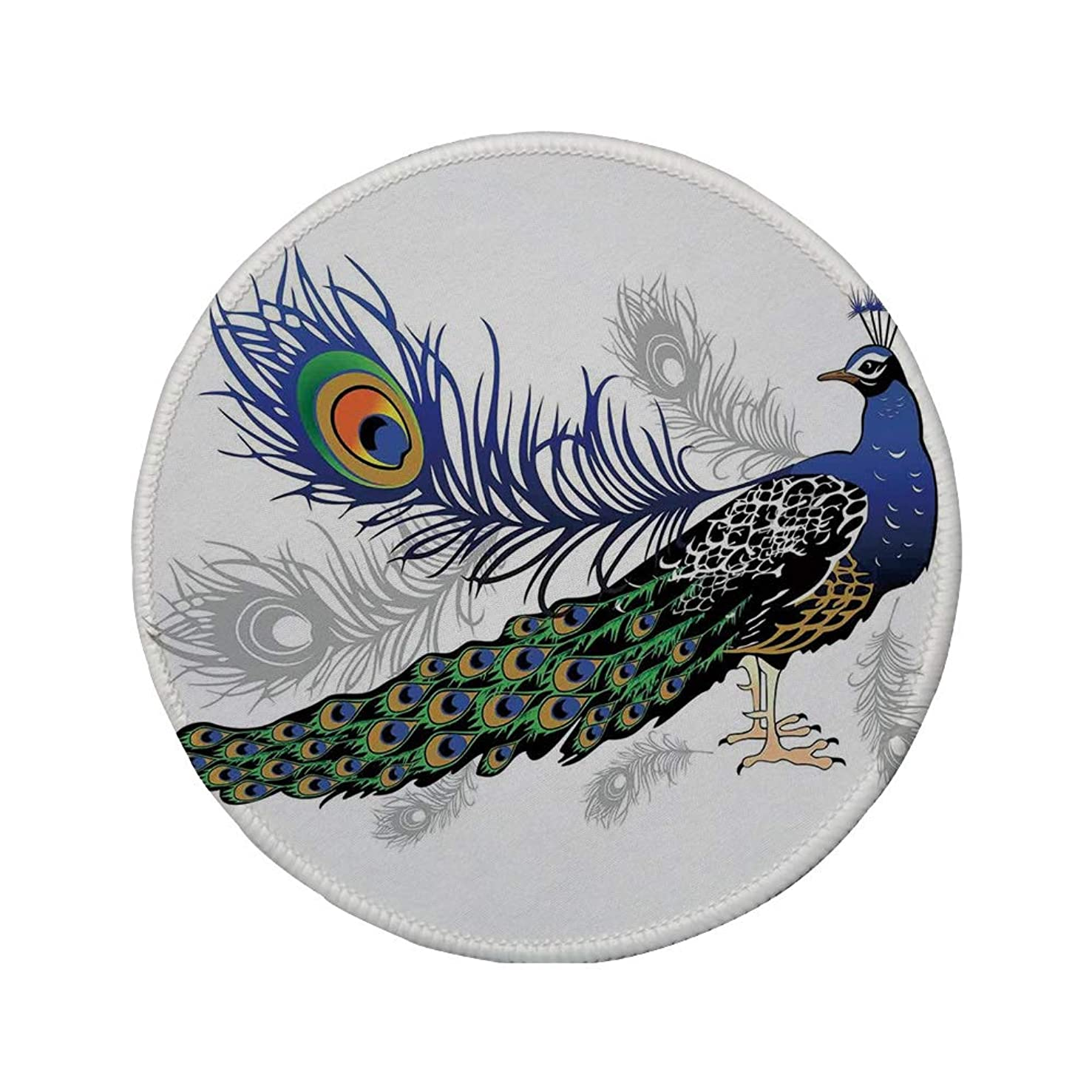 Non-Slip Rubber Round Mouse Pad,Peacock Decor,Male Peacock Feathers Springtime Wilderness Crowned Majestic Animal Pattern Decorative,11.8