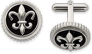 Ti2 Titanium Mens Herringbone Engraved Cufflinks Silver