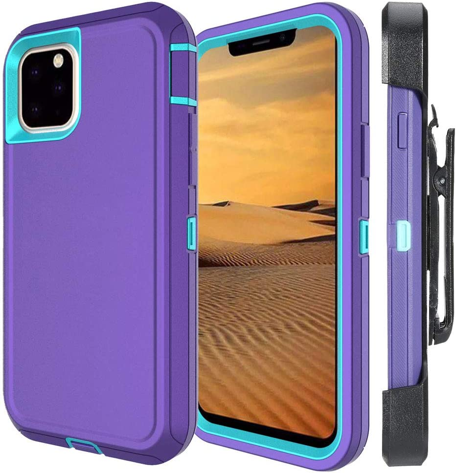Aimoll-88 for iPhone 11 Pro Max Case, with [Kickstand/Belt Clip] [Built-in Screen Protector] Heavy Duty Anti-Drop/Shockproof Tough Case for iPhone 11 Pro Max (6.5inch) (Light Purple/Sky Blue)