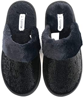 Girls' Big Fuzzy Babba Magic Sequin Slipper Black Rose House Slippers Women's Sequins Maggie Embellished Slippers