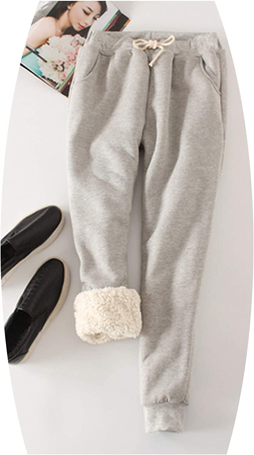 Winter Lambskin Thicker Elastic Waist Pants Loose Large Size Solid color,