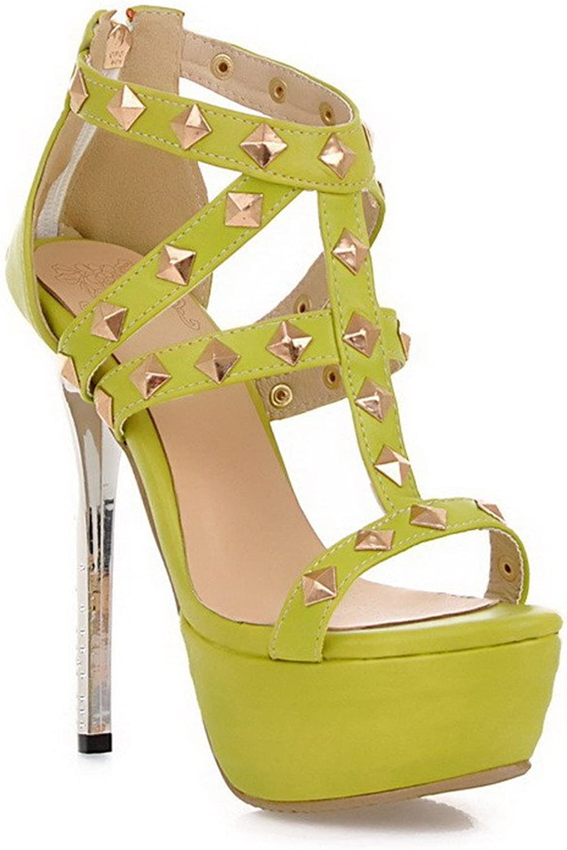 WeiPoot Women's Open-Toe High-Heels Soft Material Solid Zipper Sandals