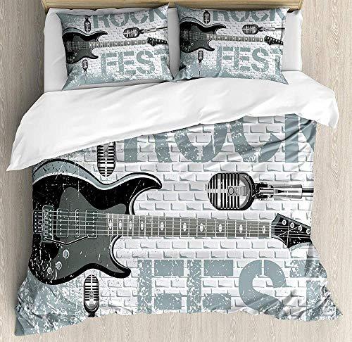 dsgsd Funda nórdica infantil funda doble individual Música vintage gris guitarra alfabeto blanco...