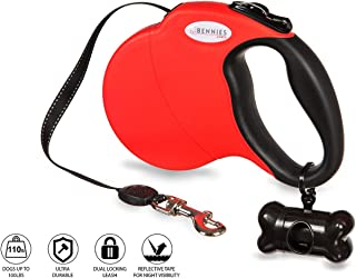 Bennies World Tangle-Free, 16 ft Retractable Dog Leash, Heavy-Duty Reflective Nylon Lead with Anti-Slip Handle, Break & Lock Button, Waste Dispenser and Bags Included