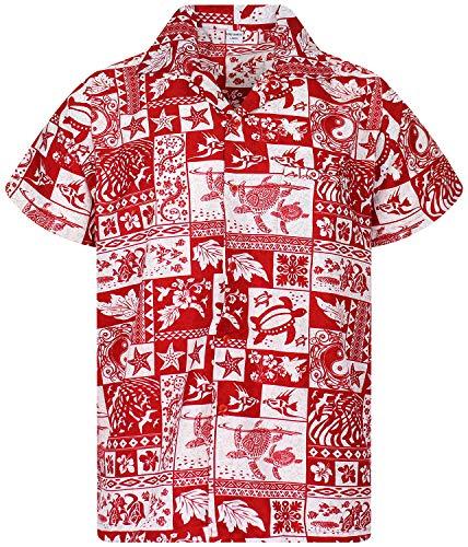V.H.O. Funky Hawaiihemd, Kurzarm, Puzzle, rot, 4XL