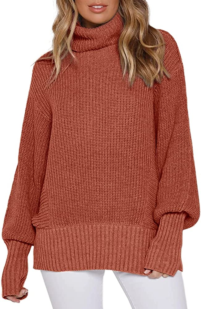 Women's Cowl Neck Pullover Sweaters Loose Slouchy Tunic Jumper Tops