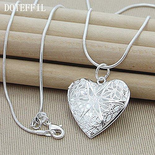 Halsketting 925 zilver fotolijst hanger halsketting dames charm klassieke statement halsketting fijn sieraad groot