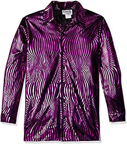 Charades Men's Psychedelic Disco Costume Shirt Top, Blackandfuschia, 1X