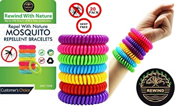 Rewind With Nature Anti Mosquito Repellent Bracelet 20 Pcs for Kids, Adults, Pets-Insect Repellent Bracelet, Wrist, Ankle, 100% Natural Silicon- Non Toxic - Waterproof Safe Travel Bug Bands Bracelet
