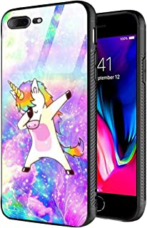 iPhone 7 Plus Case,iPhone 8 Plus Case,Slim Fit Tempered Glass Back+Soft Silicone TPU Shock Absorption Bumper Protective Case for iPhone 7 8 Plus Purple Rock Unicorn